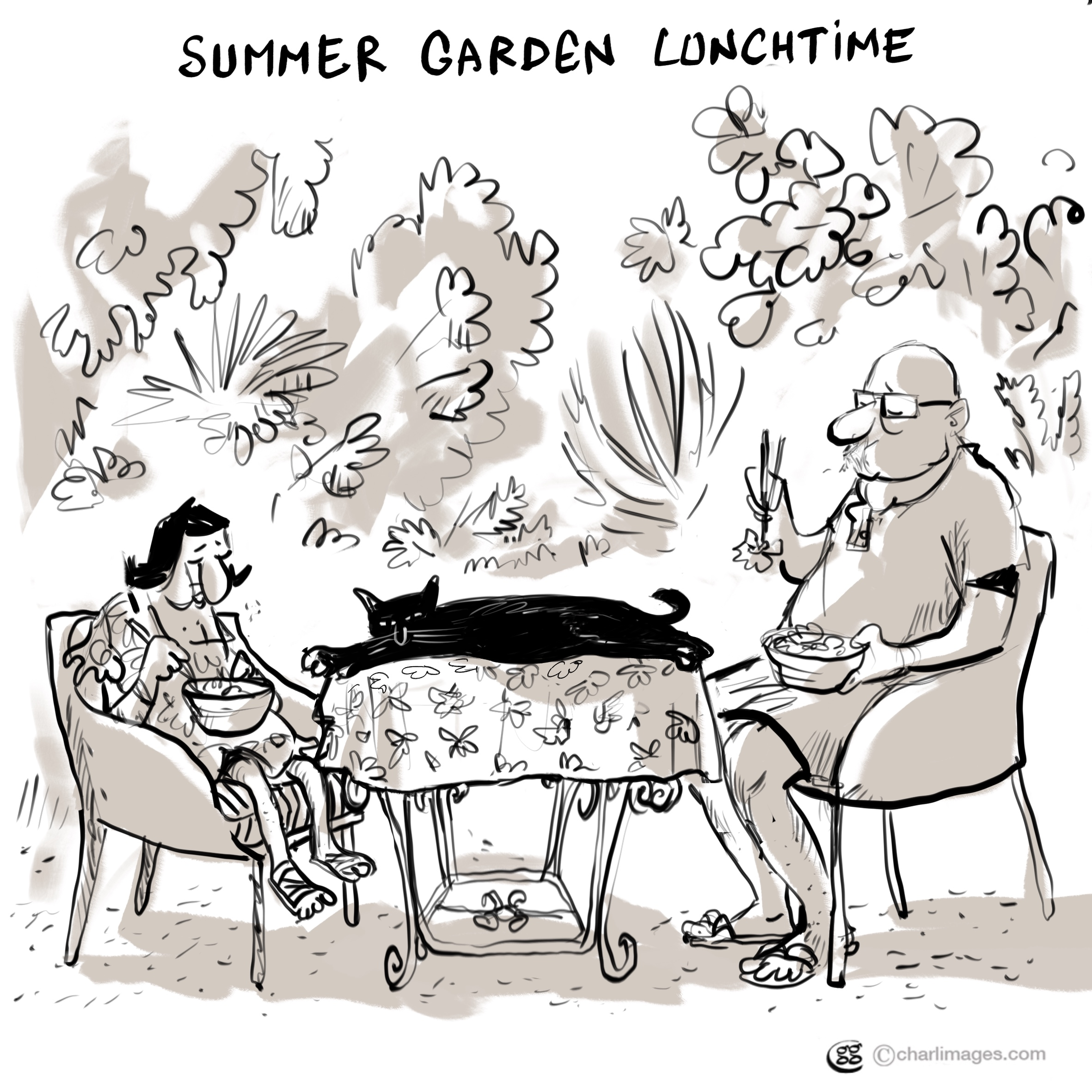 Summer garden lunchtime
